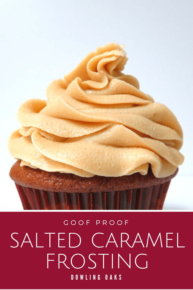 This is the best salted caramel frosting recipe I've made (and tasted!). It's easy to make, but best of all it's gluten free. This simple whipped icing recipe will frost a dozen cupcakes or a 9-inch, 2 layer cake. #glutenfree #cakedecorating #dowlingoaks