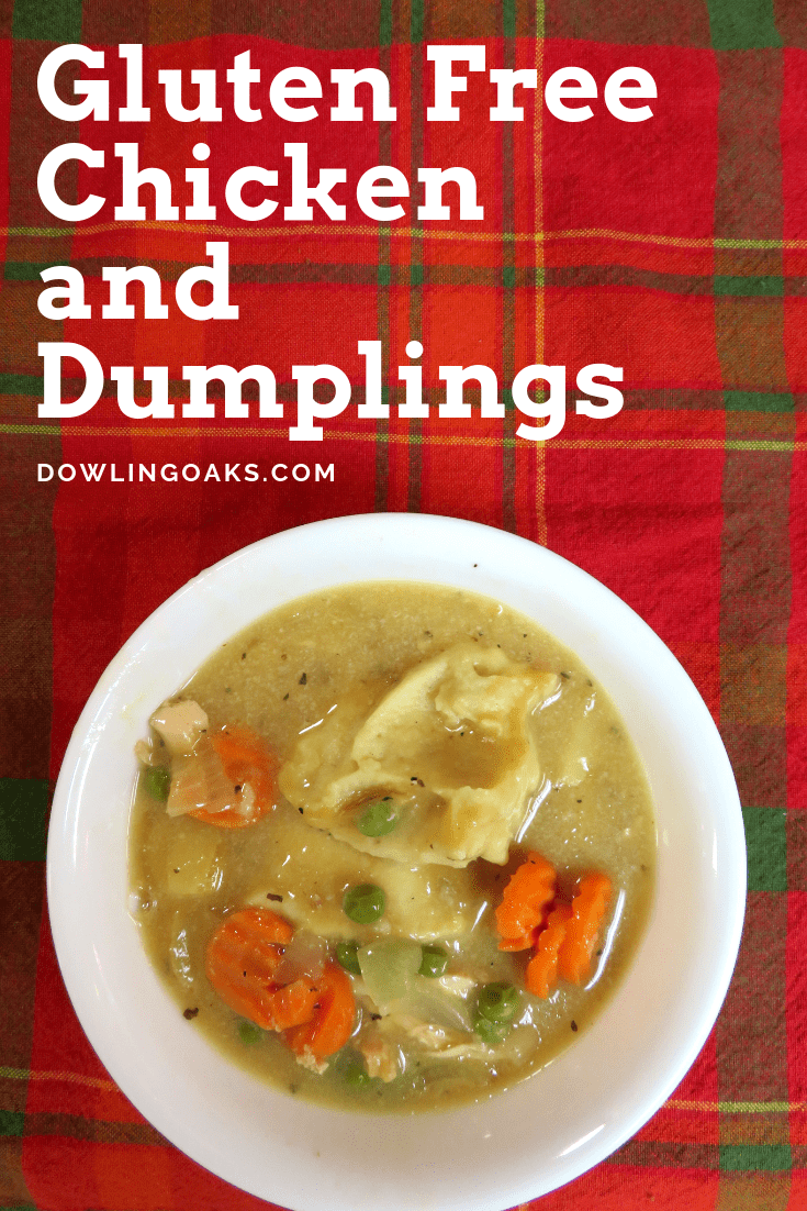 I never thought I could make gluten free chicken and dumplings taste as good as my Momma's. But this simple flourless chicken and dumplings recipe tastes so delicious your friends and family will be asking for the recipe. Who can say no to soft and fluffy dumplings in chicken soup? Yum! #weeknightdinners #comfortfoods #glutenfree #dowlingoaks